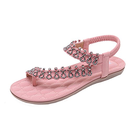 ⚡HebeTop ⚡LAT Sandals for Women Palm Leaf Pink ()