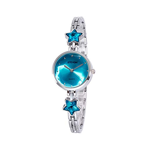 ETEVON Women's 'Stellate Glass' Design Dial Quartz Analog with Silver-Tone Bracelet and Star-Shape Crystal, Simple Fashion Dress Wrist Watches for Girls Women-Blue (Wrist Watch Casual Crystal)