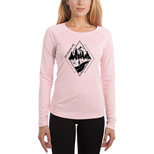 Michigan Womens Pink T-shirt - Vapor Apparel Diamond Runner Michigan Women's UPF 50+ Long Sleeve T-Shirt XX-Large Pink Blossom