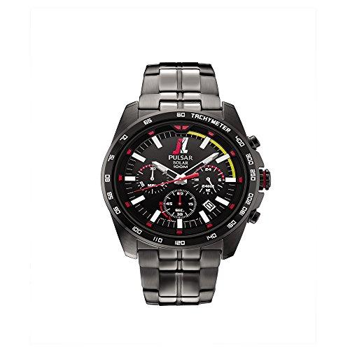 Pulsar PZ5055 Unisex Black Stainless Steel Band Black Quartz Dial Watch