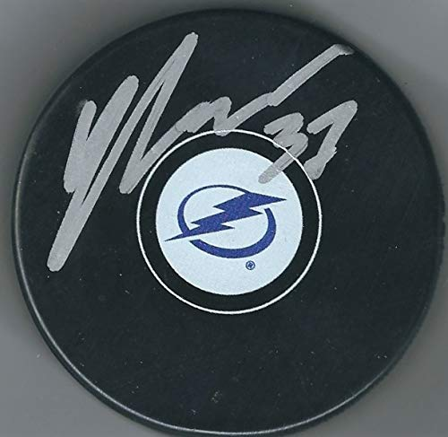 Autographed Yanni Gourde Tampa Bay Lightning Hockey Puck