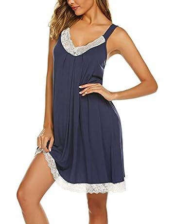 1650d363cc Ekouaer Womens Chemise Sleepwear Full Slips Lace Nightgown Cotton Jersey  Lingerie