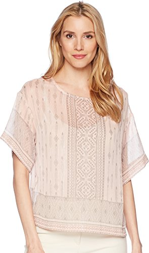 Two by Vince Camuto Women's Drop Shoulder Delicate Diamond Geo Blouse French Peach Small