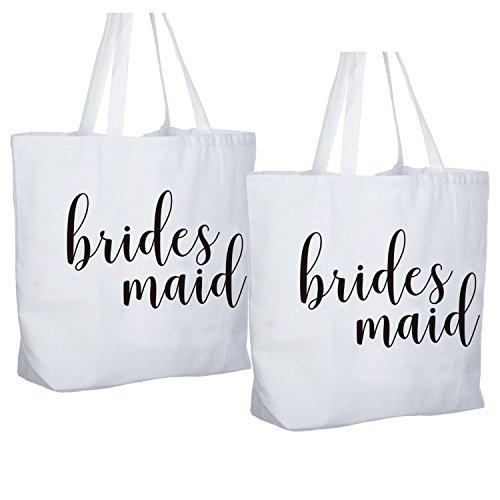 ElegantPark Bridesmaid Jumbo Tote Bag Wedding Gifts Canvas 100% Cotton Interior Pocket White with Black Script 2 Pcs for $<!--$28.99-->