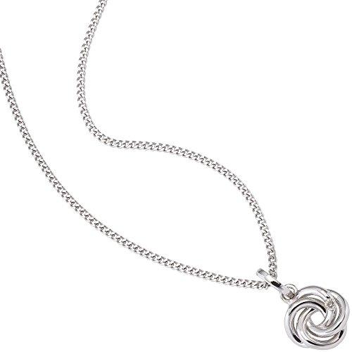 Pendentif diamant brillant avec nœuds forme brillant en or blanc 585Femme