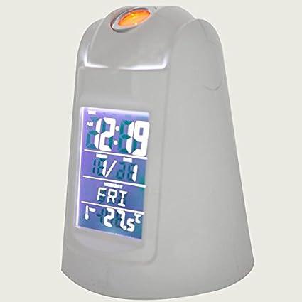 KHSKX Alumno silencioso Poco Reloj, Anillo Luminoso controlado Voz Broadcast, proyección Reloj Reloj electrónico