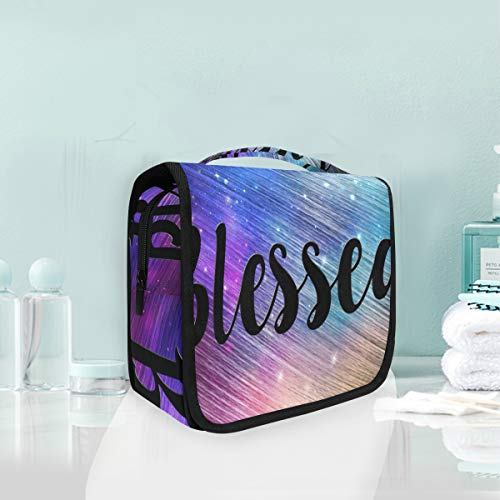Makeup Bag Starry Night Blessed Galaxy Cosmetic Portable Travel Hanging Toiletry Bag
