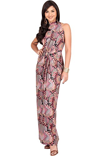 Womens Printed Silk Dress (KOH KOH Womens Long Sleeveless Sexy Summer Boho Bohemian Sundress Sun Sundresses Print Printed Halter Neck Casual Gown Gowns Maxi Dress Dresses, Pink and Black L 12-14)