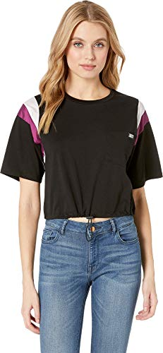 (Juicy Couture Women's Nylon and Jersey Contrast Mix Tee Pitch Black Petite/X-Small)