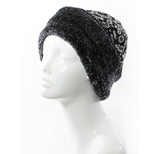 Accessory Necessary AN- Womens Wool Blend Faux Fur Paisley Leopard Print Plush Fleece Lined Beanie Hat (Black) - Print Wool Blend