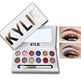 Kylie 12 Colors Pigmented Matte and Shimmer Professional Eyeshadow Palette Eye Shadow Makeup Kit Set Pro Palette with Brush