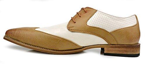 Hombres De Moda Causal Wingtip Oxfords Modern Spectator Style Brogues Zapatos Camel Brown