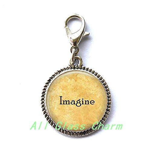Moon Charming Zipper Pull,Imagine - Imagine Zipper Pull - Imagine Peace - Imagine Charming Zipper Pull - Gift for Grad - Imagine the Possibilities - Love not - Glasses John Name Lennon