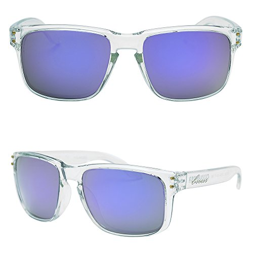 BNUS Italy made Classic Sunglasses Corning Real Glass Lens w. Polarized Option (Frame: Transparent / Lens: Lilac Mirrored, - Italy Design Sunglasses