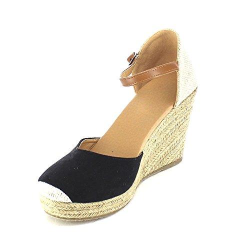 BESTON Refresh Sandra-01 Womens Espadrille Platform Wedge Sandals Black i9rGTCEVL7