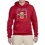 Home Malone Funny Movie Parody | Mens Ugly Christmas Sweater Hooded Sweatshirt Graphic Hoodie, Red, Medium