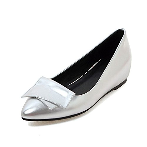 Cabeza Poco de tacón PU Zapatos De Mujer Boca Trabajo Bajo Zapatos Acentuada De Zapatos La Zapatos Profunda Planos Profesional Superior Plata Bw0fqWI