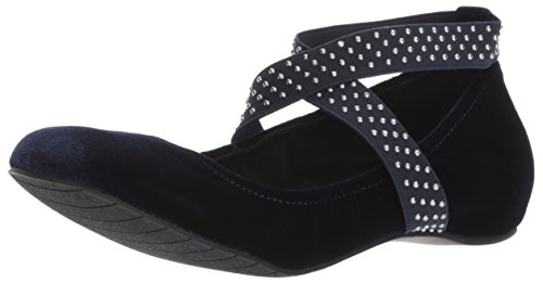 Kenneth Cole REACTION Women's Gen-eral Ballet Flat with Elastic Straps Velvet, Navy, 10 M US ()