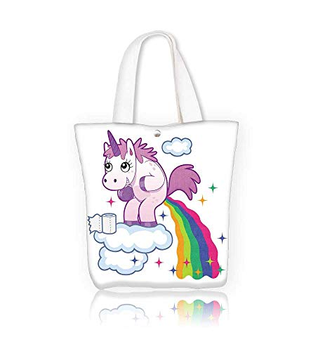 Canvas Tote Bag Smiling unicorn pooping a rainbow on the sky Hanbag Women Shoulder Bag Fashion Tote Ba W21.7xH14xD7 INCH