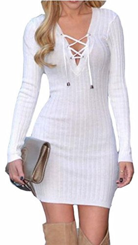 Bodycon Dress Sexy Sleeve Mini Up Long Womens Lace Jaycargogo V White Neck vqvp8O1