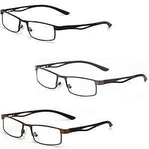 WEARKAPER 3 Pairs Small Square Frame Hyperopia Eyeglasses Prescription Reading Glasses Men Women Far Sight Eyewear (+1.50, 3 Pcs)