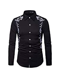 Alixyz Men's Cowboy Western Embroidered Shirt Long Sleeve Button Down Shirts