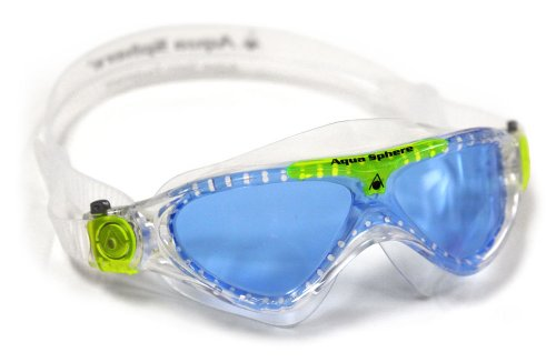 Aqua Sphere Vista Junior Swim Mask with Blue Lens (Clear/Lime). UV Protection Anti-Fog Swim Goggles for Kids