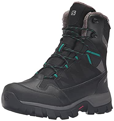 Salomon Women's Chalten TS Cswp W-W Snow Boot, Black/Autobahn/Veridian Green, 5 D US