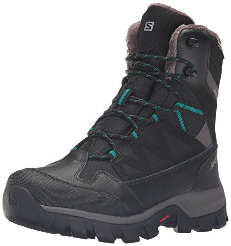 Salomon Women's Chalten TS CSWP W-W Snow Boot, Black/Autobahn/Veridian Green, 8 D US