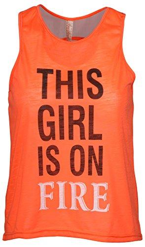 True Rock Juniors This Girl is On Fire Crop Tank Top-Orange-2XL