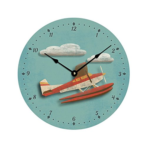 Contemporary airplane or seaplane design 10 inch wall clock. Child's room decor, nursery decor.