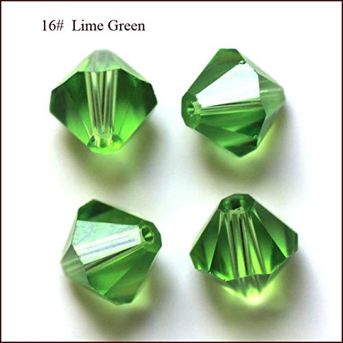 (Calvas Wholesale Grade AAA 5301 5328 3mm 4mm 5mm 6mm 8mm 10mm 30 Color Crystal Bicone Beads 100pcs/Bag - (Color: Lime Green, Item Diameter: 8mm))