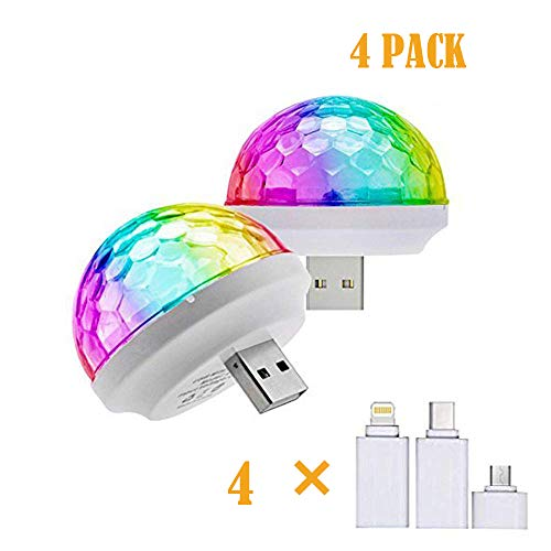 USB Party Lights Mini Disco Ball,Led Small Magic Ball Sound Control DJ Stage Light Colorful Strobe RGB Lamp for Christmas/Brithday/Wedding/Club/Karaoke Decorations,Suitable for Mobile Phones(4 Pack)