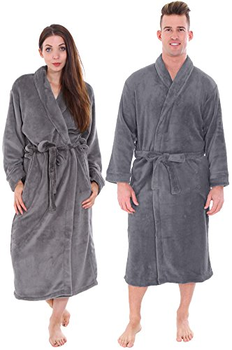 Wholesale Robes (Plush Spa Bath Night Robe w/ Two Side Pockets Unisex, Steel Grey, 2 PC Wholesale)