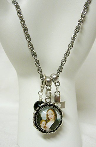 Madonna and child charm bracelet with Black onyx drop and cross with cut out heart - CB04-010