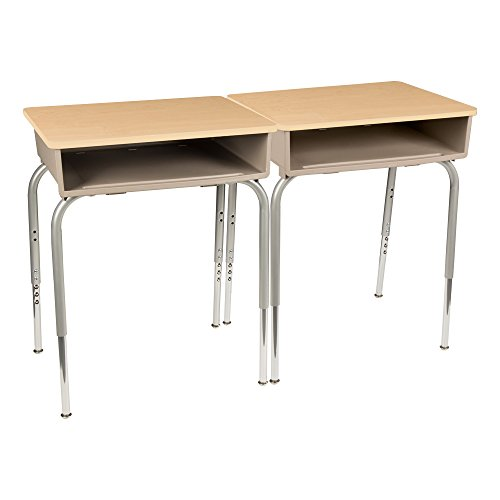 Adjustable Height Open Front Desk - Learniture LNT2200PLKMMAHEST Open Front Desk with Box, Maple Top, 22