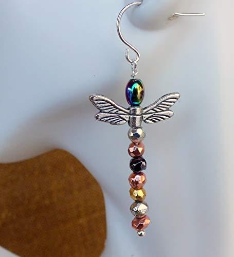 Dragonfly Earrings. Dragonflies-Titanium Coated Hematite Earrings