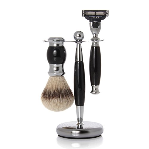 Pfeilring Germany Original Golddachs Vintage Shaving Set, Mach3 Razor Handle, Silvertip Badger Brush, Chrome Stand, 3 Piece by Pfeilring Germany