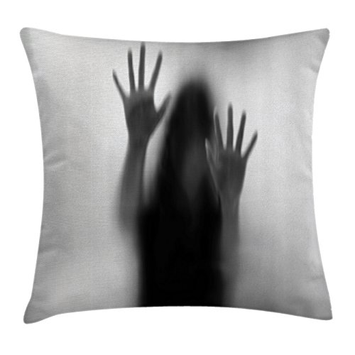 Ambesonne Horror House Decor Throw Pillow Cushion Cover by, Silhouette of Woman behind the Veil Scared to Death Obscured Paranormal Photo, Decorative Square Accent Pillow Case, 18 X 18 Inches, Gray by Ambesonne