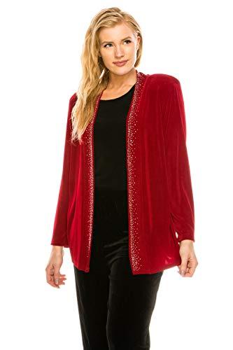 Jostar Women's Acetate Drape Jacket Long Sleeve Rhinestones Medium Red Abstract