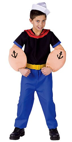 [Popeye the Sailor Costume Child Small] (Popeye Costumes)