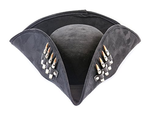 Black Pirate Hat Real .223 Bullet Leather Strap Costume Hat Halloween Party (Nickel Bullet) -