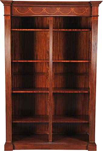 EuroLuxHome Bookcase Shaped Base Rear Panel Construction Reeded Pilasters Drape - Reeded Pattern