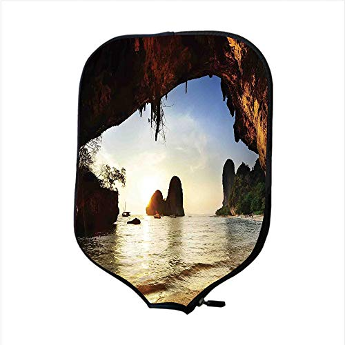 Neoprene Pickleball Paddle Racket Cover Case,Natural Cave Decorations,Water Eroded Reed Flute Cave Chinese Cistern Rain Harvest with Artsy Photo,Multi,Fit For Most Rackets - Protect Your ()