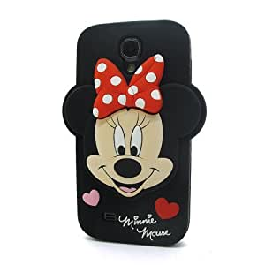 3D Cartoon Black Minnie Mouse Soft Silicone Case Skin Protective Cover for Samsung Galaxy S4 SIV i9500 with Batman style back pin 2.3 inch badge by ruishername