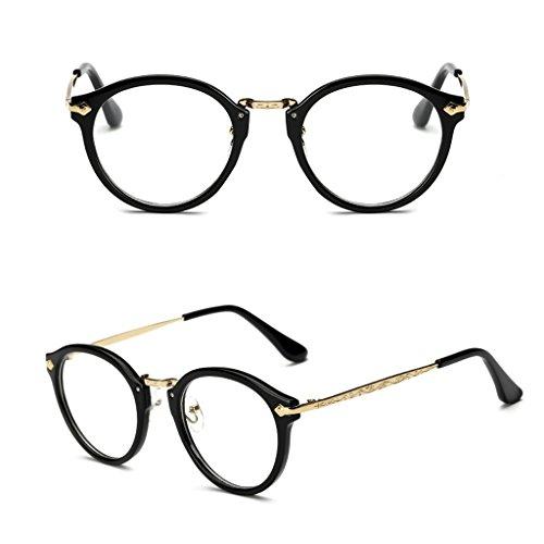 Doober Vintage Men Women Eyeglass Round Frame Clear Full Rim Spectacles Eyewear Optical (Black, - Eyeglass Hottest Frames