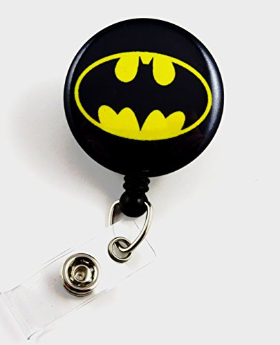Superhero Batman Mylar - Nurse Badge Reel - Retractable ID Badge Holder - Nurse Badge - Badge Clip - Badge Reels - Pediatric - RN - Name Badge Holder