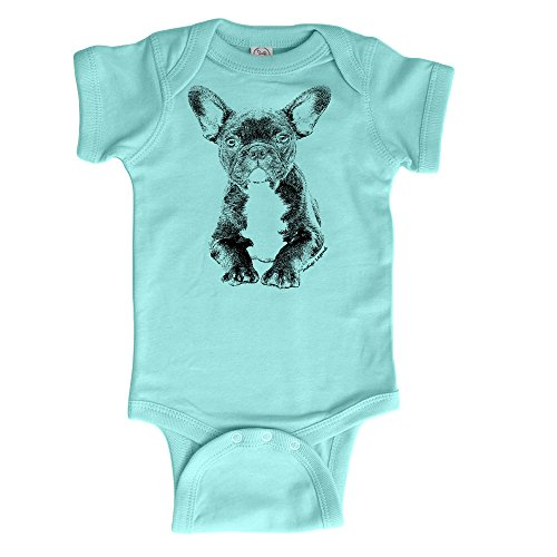 Indigo Legend French Bulldog Onesie Bodysuit Baby Shower Keepsake Gift (Mint Green 3-6 (Bulldog Keepsake)