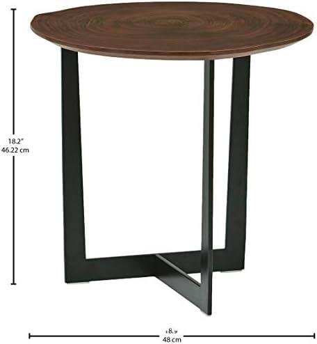 Marca Amazon - Rivet Bristol - Mesa auxiliar con borde natural y patas de metal negro (nogal): Amazon.es: Hogar