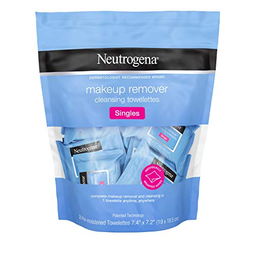 Neutrogena Makeup Remover Cleansing Towelette Singles, Daily Face Wipes to Remove Dirt, Oil, Makeup & Waterproof Mascara, Individually Wrapped, 20 ct from Neutrogena